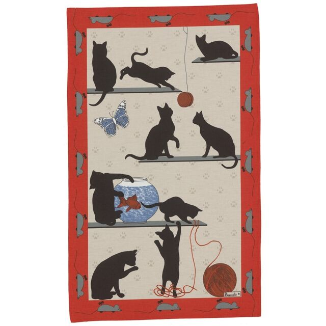 BEAUVILLE French Kitchen Dish Towel Gift New Playful Black Kitty Cat Chat Pitre