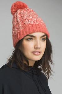 PrAna Women's Felicity Beanie Cold Weather Hats Solid Pom Rhubarb One Size