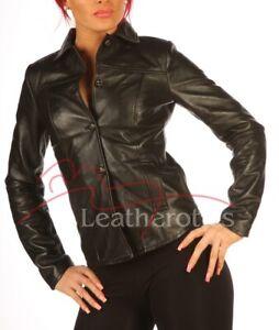 Ladies-Black-Leather-Dress-Shirt-Top