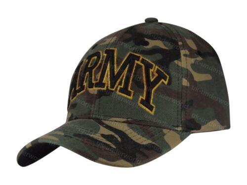 Mens Baseball Cap Ladies Adults Army Camouflage Design Curved Peak Sun Hat