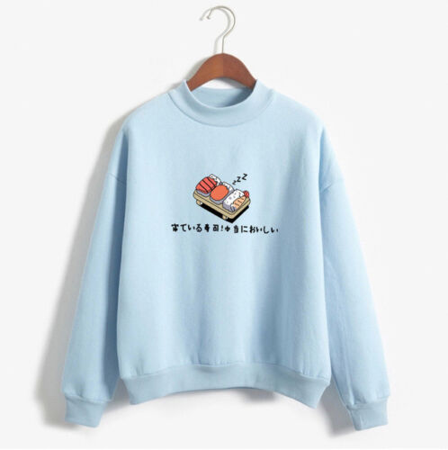 Women's Turtleneck Sweatshirts Cartoon Sushi Print Hoodies Fleece Pullover Loose