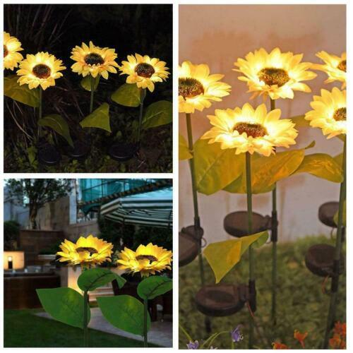 Solar Powered Outdoor Garden Waterproof Sunflowers Lights For Patio Decor K0D4