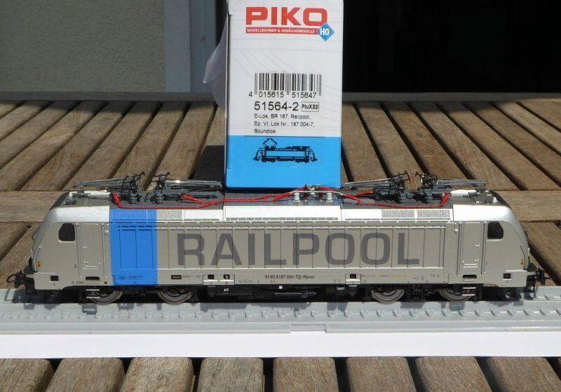 PIKO 51564-2 E-Lok BR 187 RAILPOOL ep.6, con DCC Sound Decoder Last Mile Lok, NUOVO
