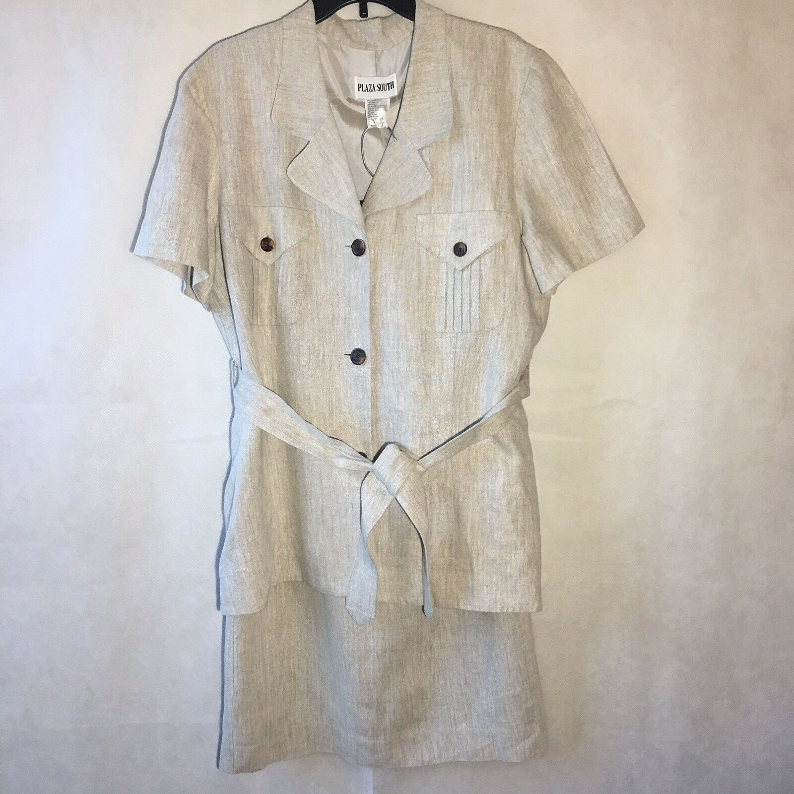 Plaza South Beach Sand Linen Skirt Suit Women Plus 16