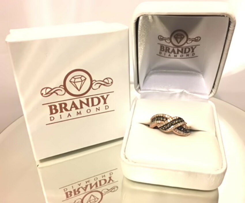 Brandy Diamond® Chocolate Brown 14K pink gold Credver Wave Shaped Ring .75Ct