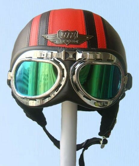 Retro Black/Red Leather Half Face Motorcycle Vespa Helmet Goggles/Visor S M L XL