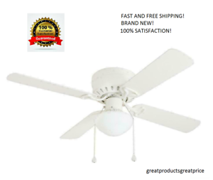 Harbor-Breeze-42-in-WHITE-Flush-Mount-Indoor-Ceiling-Fan-with-Light-Kit-ARMITAGE