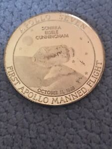 Apollo 7 1st Manned Apollo Mission Schirra Eisele Cunninghnam Coin Medal NASA