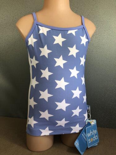 BNWT Girls Size 6 White Soda Brand Purple /& White Stars Tankini Swim Top UPF 50+