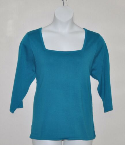Linea by Louis Dell/'Olio Square Neck Short Sleeve Sweater Size 2X Turquoise