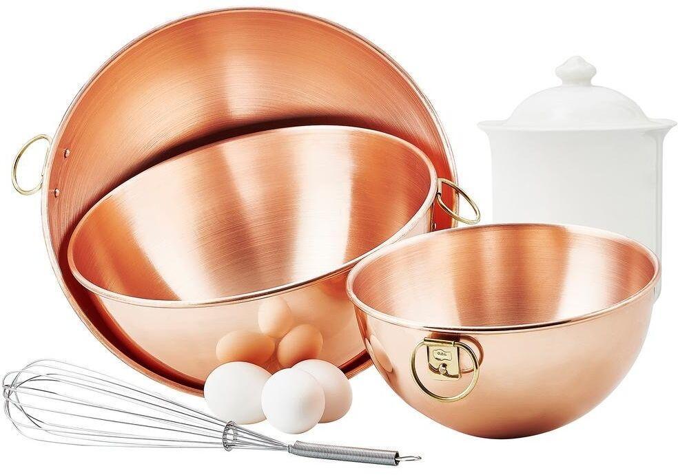 Solid Copper Beating Bowl Set of 3, Old Dutch 2 Qt., 4.5 Qt., 5 Qt., Chef Gift