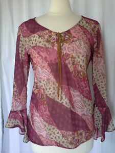 SIZE-S-FASHION-BUG-Peasant-Blouse-Top-Pink-Tan-Paisley-Floral