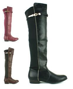 Para-Mujer-Damas-encima-de-la-rodilla-alto-del-muslo-botas-de-invierno-Stretch-Pierna-Ancha-Zapatos