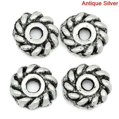 64H 50 ANTIQUE SILVER STRIPED SPACER BEADS ~6mm~ BRACELETS~NECKLACES~EARRINGS