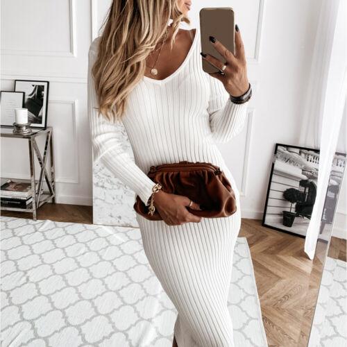 Womens Plain V Neck Long Sleeve Knitted Sweater Dress Bodycon Mini Dresses Sales