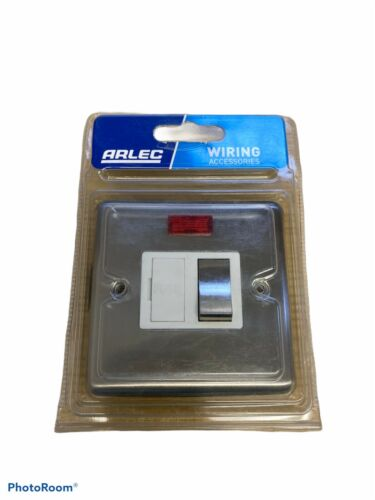 Arlec Metal 13A Switched Fused Neon Connection Unit Brushed Stainless Steel