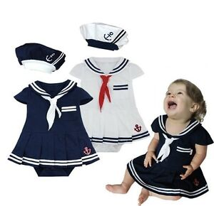 cb81db69a Details about Baby Girl Sailor Nautical Carnival Fancy Party Costume Outfit  Clothes Dress