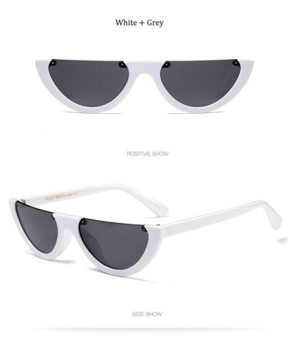 Small Size Half Frame Cat Eye HD Sunglasses Cool Women Fashion Vintage shades UK