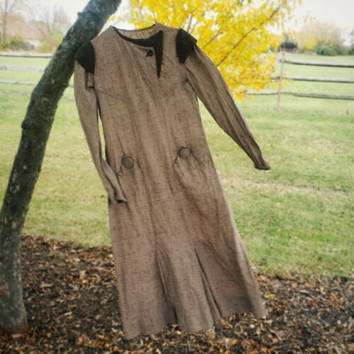 Antique 1920s feed sack brown linen flapper dress