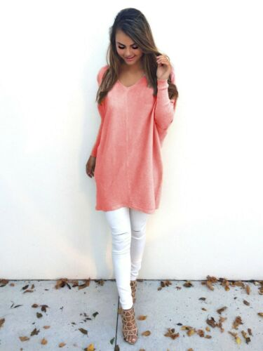 Women Casual Long Sleeve V-Neck Pullover Loose Sweater Jumper top Clothing