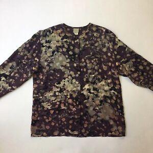 Lia-Purple-Graphic-Print-Italian-Silk-Blouse-Long-Sleeve-Top-Size-44-XL-FLAW