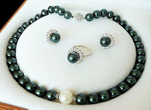 Genuine-10mm-Peacock-Black-South-Sea-Shell-Pearl-Necklace-Earrings-Ring-Set-AAA
