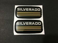 2x New Custom Epoxy Resin Silverado Emblem Pillar Cab Badge Yellow