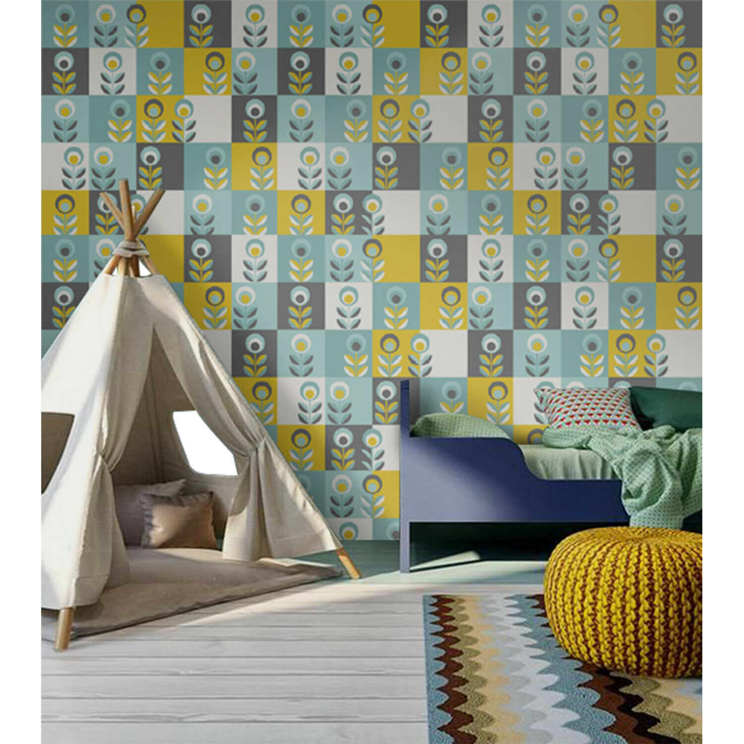 Geometric Floral wall mural Simple Home decor Scandinavian Non-Woven wallpaper