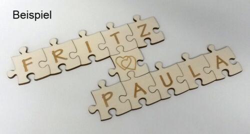 Holzpuzzleteil unendlich Größe S graviert 5,5 x 5,5 cm Buchstaben Zahlen