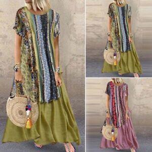 ZANZEA-Women-Floral-Print-Long-Shirt-Dress-Summer-T-Shirt-Dress-Maxi-Dress-Plus