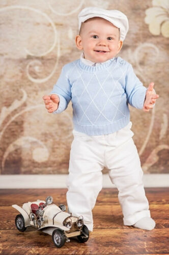 Baby Boy Christening Outfit White Blue Smart Jumper 1st Birthday Party 0-18M