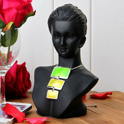 Necklace Pendant Earrings Black Display Stand Bust Holder 8x5""