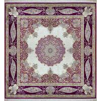Silk Square Carpet 10'x 10' Open Field Square Kerman