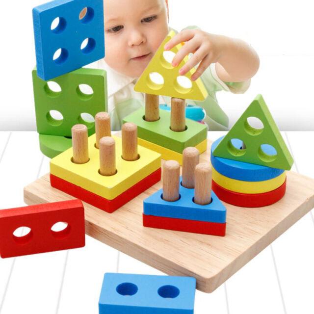 Wood Geometric Building Blocks Sorting Montessori Iq Educational