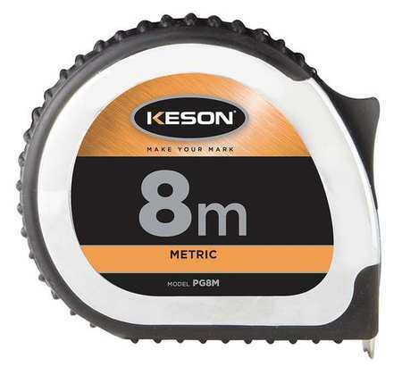 25mm Blade Chrome//Black KESON PG8M 8M Long Tape Measure