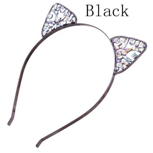 Neue Frauen Mädchen Rhinestone Katze Ohr Stirnband Haarband Kostüm Party Cosplay