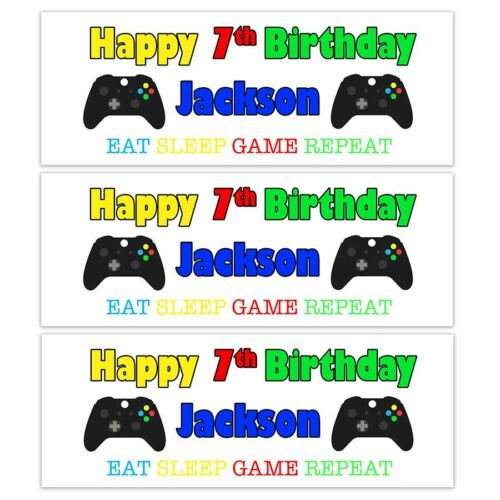 PERSONALISED GAMERS NAME BIRTHDAY BANNERS PS4 XBOX COMPUTER GAME KIDS CHILDRENS