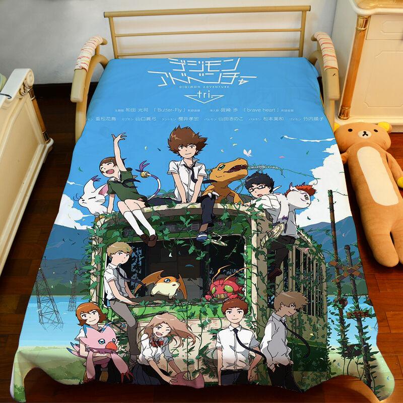 79  BedSheet Anime Digimon Adventure HD Blanket Micro Fiber Otaku Birthday Gift