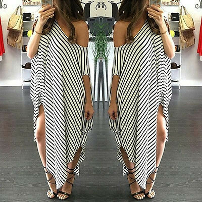 Ladies Boho Striped Off Shoulder Maxi Long Dress Summer Beach Sundress Kaftan