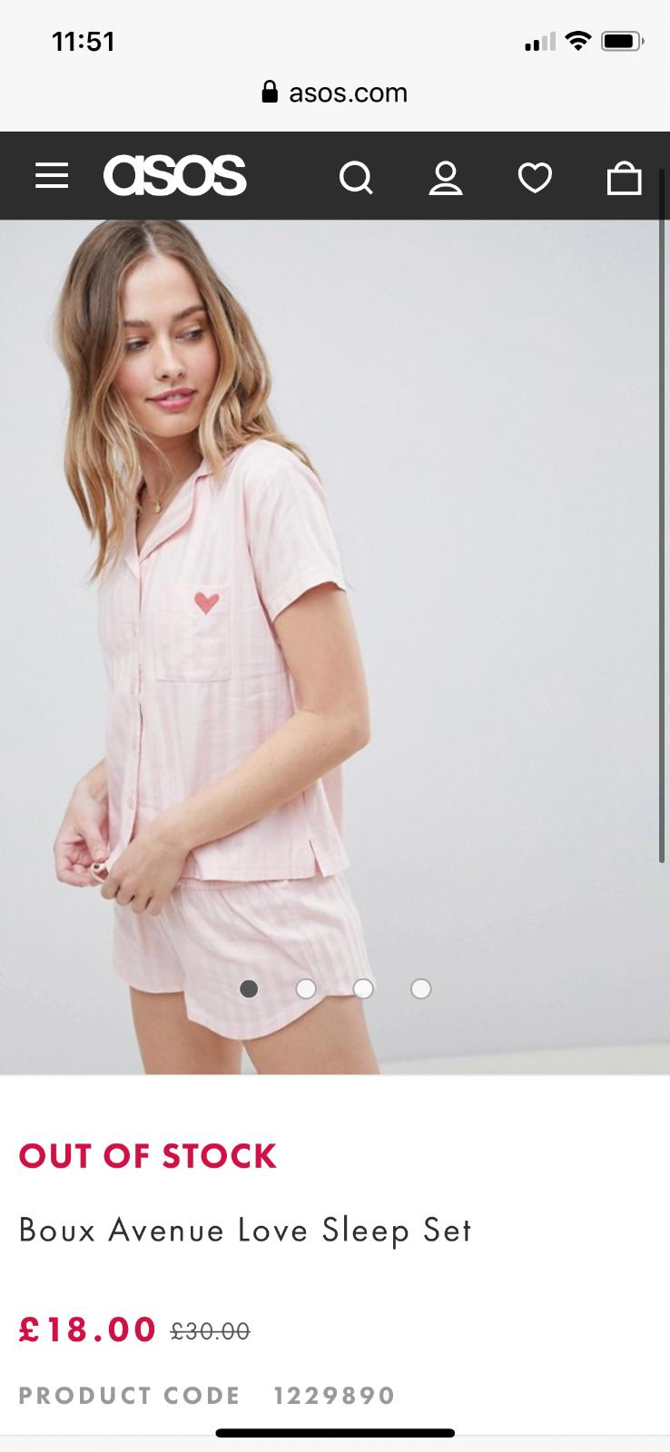 PJ/'s Nightwear Ladies Ex Asos Boux Avenue Love Sleep Pyjama Set