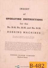 Barber Colman No 16 16 36 Amp 56 Hobbing 2837 Amp Up Insert Of Operating Manual