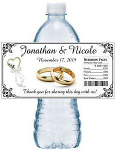 Wedding Water Bottle Labels.100 Personalized Wedding Bridal Shower Favors Water Bottle