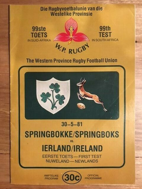 Rugby Programme - Springboks vs Ireland 99th Test 30 05 1981 (FREE DELIVERY)