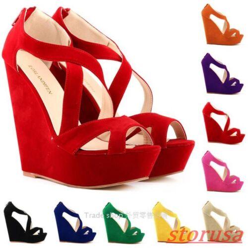 Womens Roma Cross Strap Platform wedge High Heel Faux suede Peep toe sandals Sz