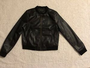 best prices good looking super quality Details about Banana republic black No Collar Faux Leather Jacket