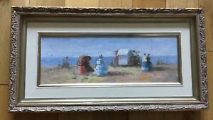 Oil-Painting-On-Board-Late-19th-Early-20th-Century-Figures-By-The-Sea-Framed