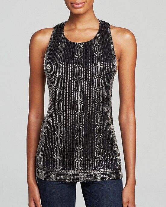 NWT  S ALICE + OLIVIA 'Brie' Embellished Beaded T-Back Top Tank Blouse schwarz