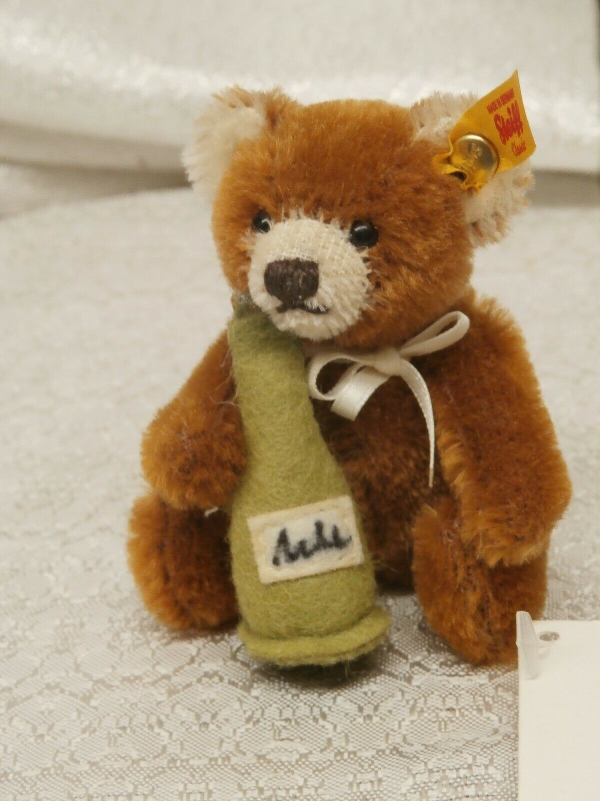 Steiff MINI TEDDY BEAR  With Champagne Bottle Marronee Mohair 028908