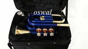 Pocket-Trumpet-3V-Pro-Painted-with-Mouth-Piece-n-Case-OSWAL-Fast-Ship
