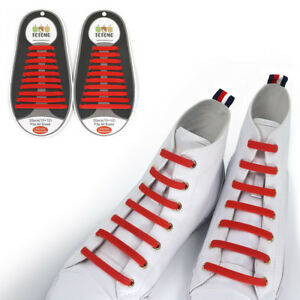 5d9aff678ed5 TOTOMO Red No-Tie Elastic Shoelaces Silicone Tieless Shoe Laces for ...